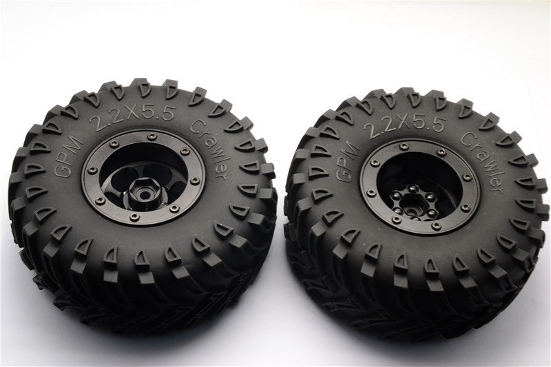 Aluminum 6 Poles Wheels With 2.2'' Tire & Foam Insert - 1Pr Black