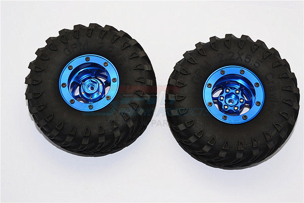 Aluminum 6 Poles Wheels With 2.2'' Tire & Foam Insert - 1Pr Blue