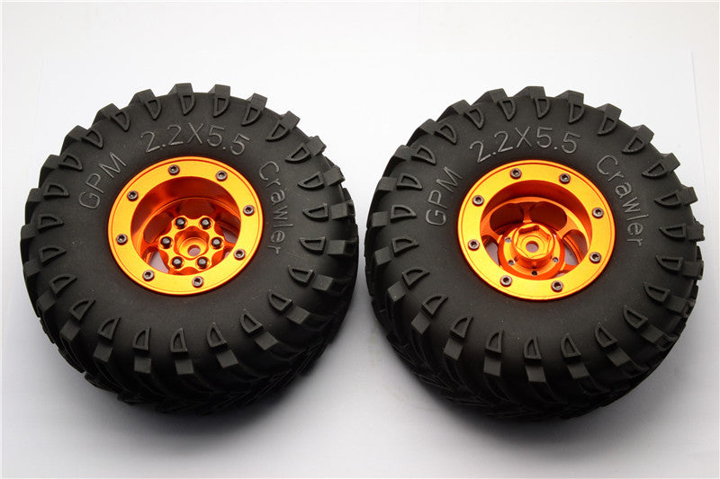 Aluminum 6 Poles Wheels With 2.2'' Tire & Foam Insert - 1Pr Orange