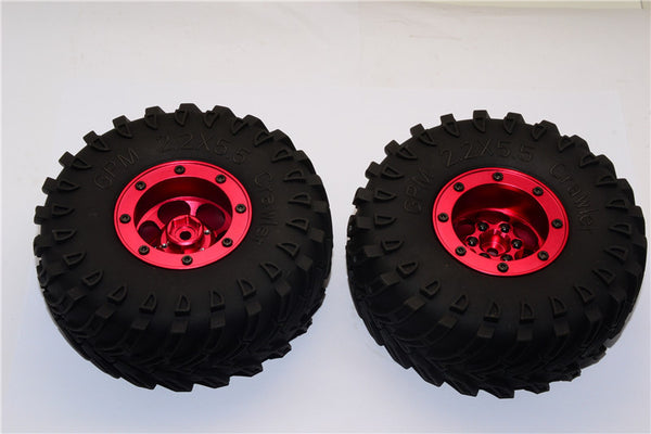 Aluminum 6 Poles Wheels With 2.2'' Tire & Foam Insert - 1Pr Red