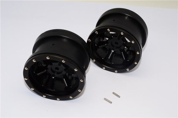 Aluminum 6 Poles Beadlock & Nylon Wheels Frame For 2.2'' Tire - 1Pr Black