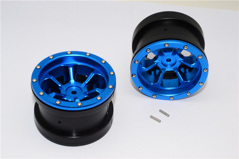 Aluminum 6 Poles Beadlock & Nylon Wheels Frame For 2.2'' Tire - 1Pr Blue
