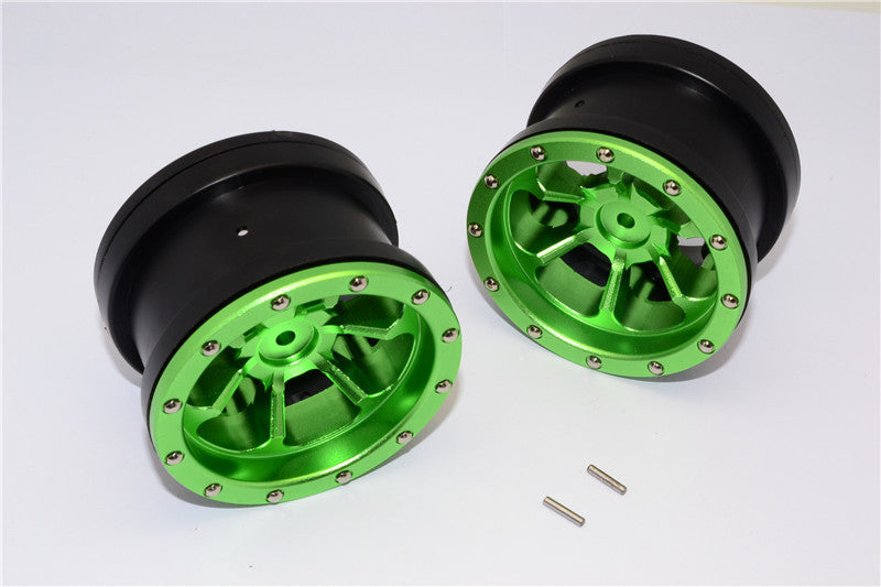 Aluminum 6 Poles Beadlock & Nylon Wheels Frame For 2.2'' Tire - 1Pr Green