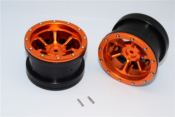 Aluminum 6 Poles Beadlock & Nylon Wheels Frame For 2.2'' Tire - 1Pr Orange