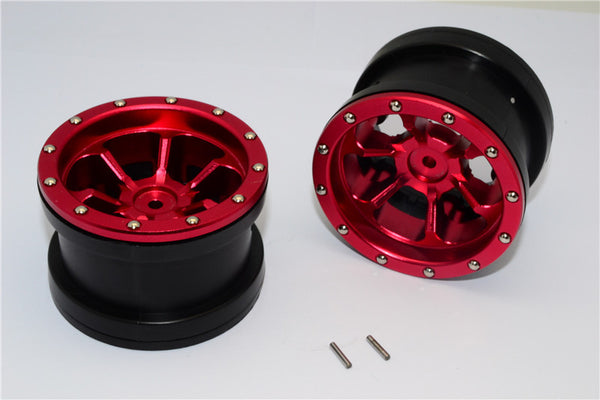 Aluminum 6 Poles Beadlock & Nylon Wheels Frame For 2.2'' Tire - 1Pr Red