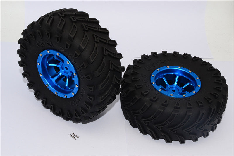 Aluminum 6 Poles Beadlock & Nylon Wheels Frame With 2.2'' Tire & Foam Insert - 1Pr Blue