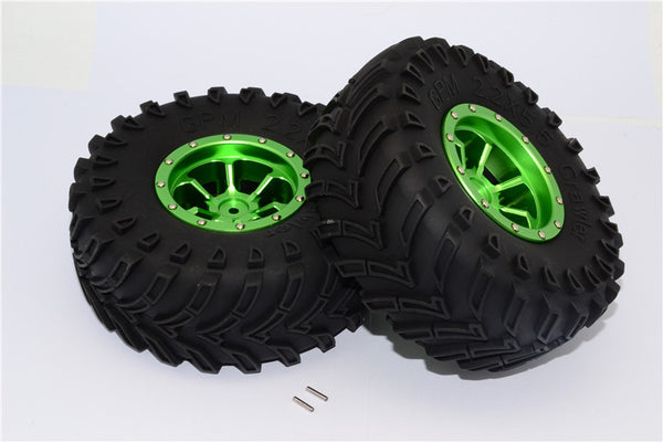 Aluminum 6 Poles Beadlock & Nylon Wheels Frame With 2.2'' Tire & Foam Insert - 1Pr Green