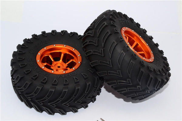 Aluminum 6 Poles Beadlock & Nylon Wheels Frame With 2.2'' Tire & Foam Insert - 1Pr Orange