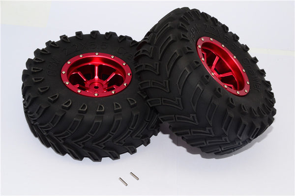 Aluminum 6 Poles Beadlock & Nylon Wheels Frame With 2.2'' Tire & Foam Insert - 1Pr Red
