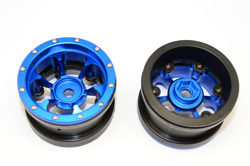 Aluminum 6 Poles Beadlock & Nylon Wheels Frame For 2.2'' Tire (Use With 12mm Hex) - 1Pr Blue