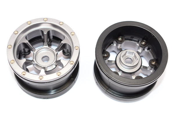 Aluminum 6 Poles Beadlock & Nylon Wheels Frame For 2.2'' Tire (Use With 12mm Hex) - 1Pr Gray Silver