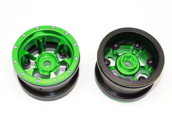 Aluminum 6 Poles Beadlock & Nylon Wheels Frame For 2.2'' Tire (Use With 12mm Hex) - 1Pr Green