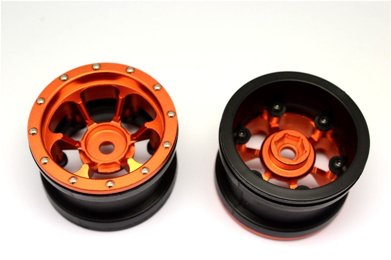 Aluminum 6 Poles Beadlock & Nylon Wheels Frame For 2.2'' Tire (Use With 12mm Hex) - 1Pr Orange