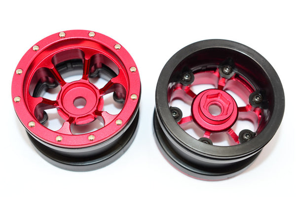 Aluminum 6 Poles Beadlock & Nylon Wheels Frame For 2.2'' Tire (Use With 12mm Hex) - 1Pr Red