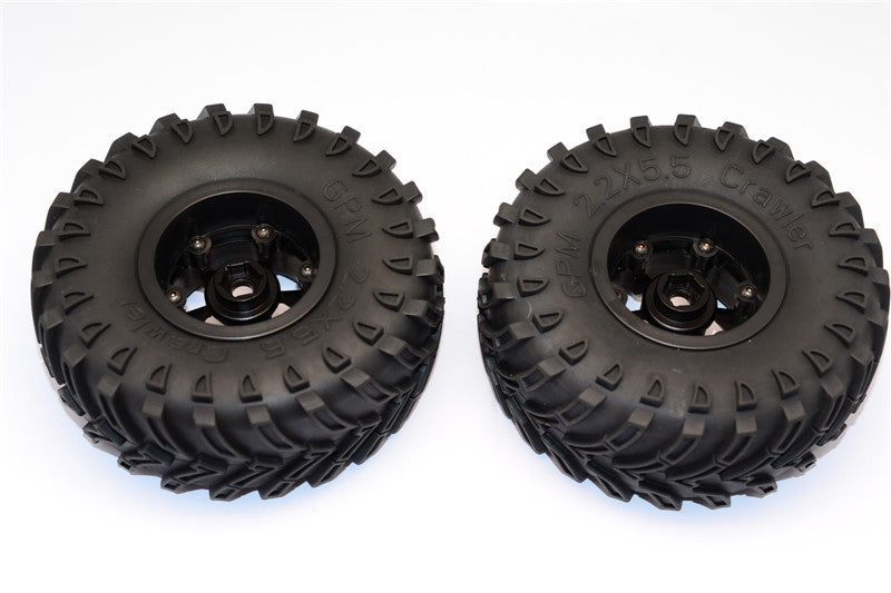 Aluminum 6 Poles Beadlock & Nylon Wheels Frame With 2.2'' Tire & Foam Insert (Use With 12mm Hex) - 1Pr Black