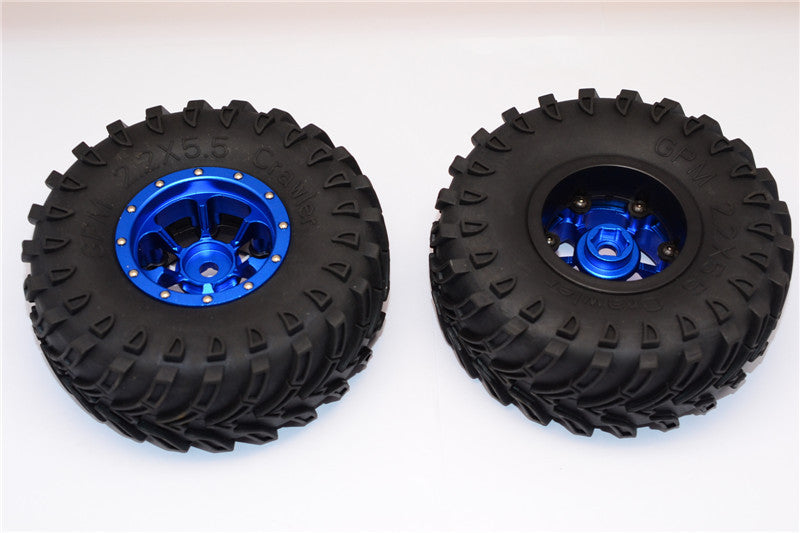 Aluminum 6 Poles Beadlock & Nylon Wheels Frame With 2.2'' Tire & Foam Insert (Use With 12mm Hex) - 1Pr Blue