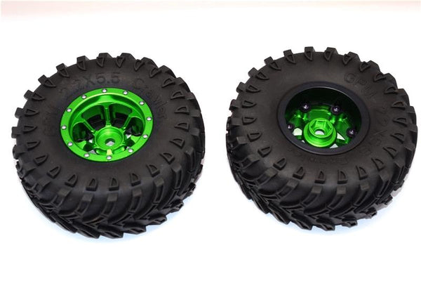 Aluminum 6 Poles Beadlock & Nylon Wheels Frame With 2.2'' Tire & Foam Insert (Use With 12mm Hex) - 1Pr Green