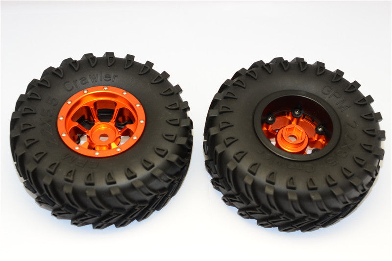 Aluminum 6 Poles Beadlock & Nylon Wheels Frame With 2.2'' Tire & Foam Insert (Use With 12mm Hex) - 1Pr Orange
