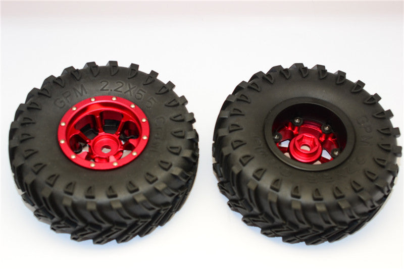 Aluminum 6 Poles Beadlock & Nylon Wheels Frame With 2.2'' Tire & Foam Insert (Use With 12mm Hex) - 1Pr Red