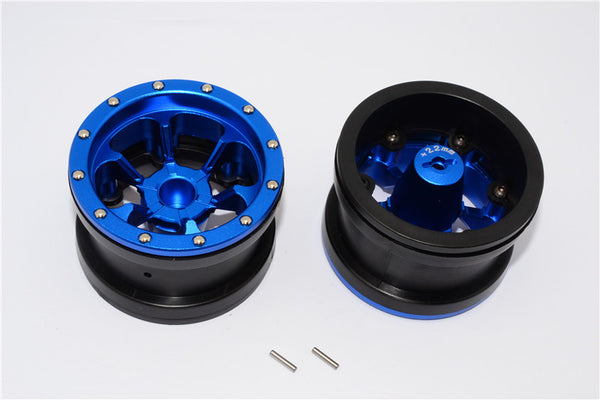 Aluminum 6 Poles Beadlock With 22mm Hub & Nylon Wheels Frame For 2.2'' Tire - 1Pr Blue