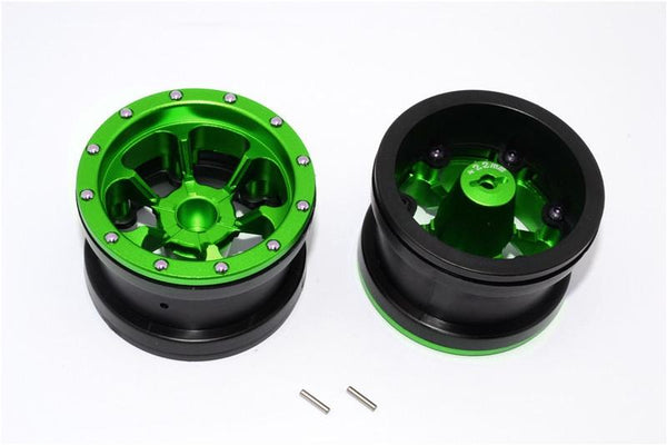 Aluminum 6 Poles Beadlock With 22mm Hub & Nylon Wheels Frame For 2.2'' Tire - 1Pr Green