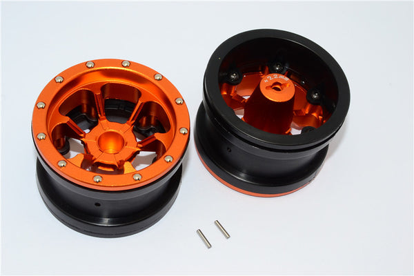 Aluminum 6 Poles Beadlock With 22mm Hub & Nylon Wheels Frame For 2.2'' Tire - 1Pr Orange