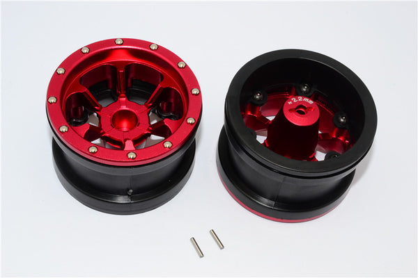 Aluminum 6 Poles Beadlock With 22mm Hub & Nylon Wheels Frame For 2.2'' Tire - 1Pr Red