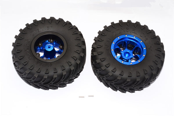 Aluminum 6 Poles Beadlock With 22mm Hub & Nylon Wheels Frame With 2.2'' Tire & Foam Insert - 1Pr Blue