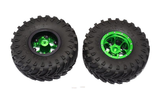 Aluminum 6 Poles Beadlock With 22mm Hub & Nylon Wheels Frame With 2.2'' Tire & Foam Insert - 1Pr Green