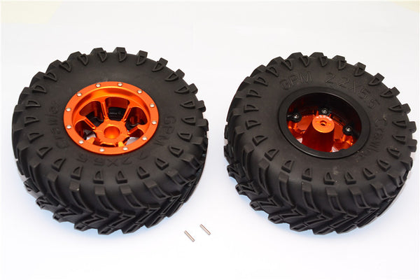 Aluminum 6 Poles Beadlock With 22mm Hub & Nylon Wheels Frame With 2.2'' Tire & Foam Insert - 1Pr Orange