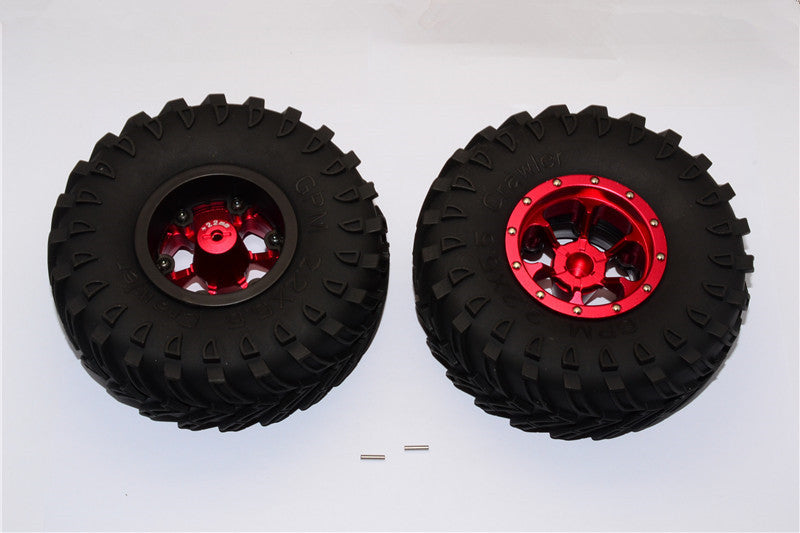 Aluminum 6 Poles Beadlock With 22mm Hub & Nylon Wheels Frame With 2.2'' Tire & Foam Insert - 1Pr Red