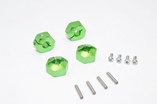 Axial EXO, SCX10 & Wraith Aluminum Hex Adapter (12mmx7mm) - 4Pcs Set Green