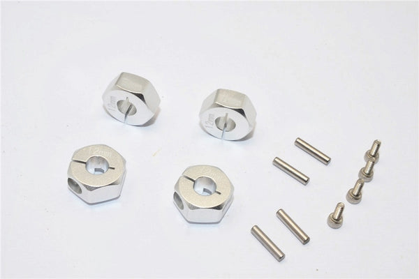 Axial EXO, SCX10 & Wraith Aluminum Hex Adapter (12mmx7mm) - 4Pcs Set Silver