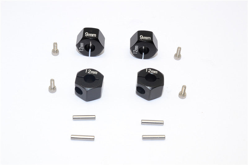 Axial EXO, SCX10 & Wraith Aluminum Hex Adapter (12mmx9mm) - 4Pcs Set Black