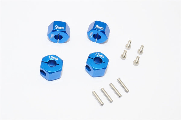 Axial EXO, SCX10 & Wraith Aluminum Hex Adapter (12mmx9mm) - 4Pcs Set Blue