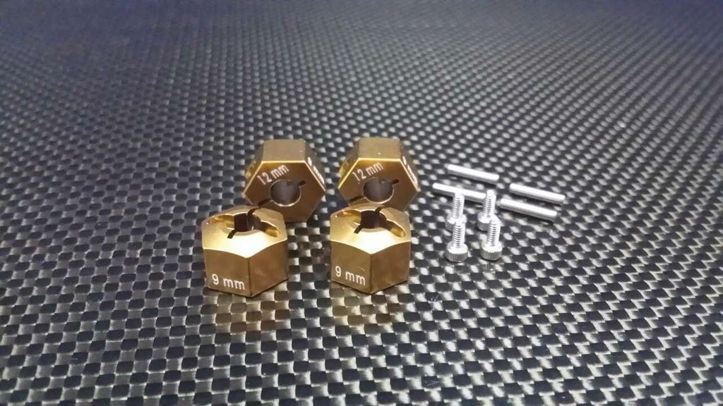 Axial EXO, SCX10 & Wraith Aluminum Hex Adapter (12mmx9mm) - 4Pcs Set Golden Black