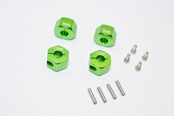 Axial EXO, SCX10 & Wraith Aluminum Hex Adapter (12mmx9mm) - 4Pcs Set Green