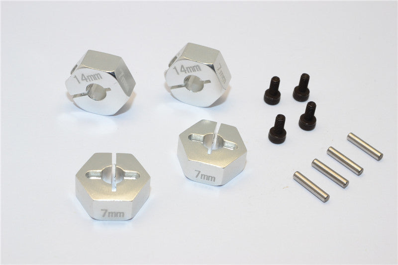 Axial EXO Aluminum Hex Adapter (14mmx7mm) For Optional 14mm Hex Wheel Only - 4Pcs Set Silver