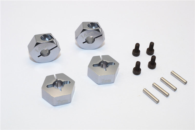Axial EXO Aluminum Hex Adapter (14mmx7mm) For Optional 14mm Hex Wheel Only - 4Pcs Set Gray Silver
