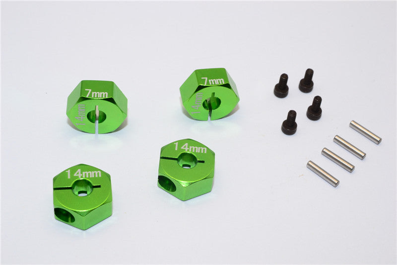 Axial EXO Aluminum Hex Adapter (14mmx7mm) For Optional 14mm Hex Wheel Only - 4Pcs Set Green