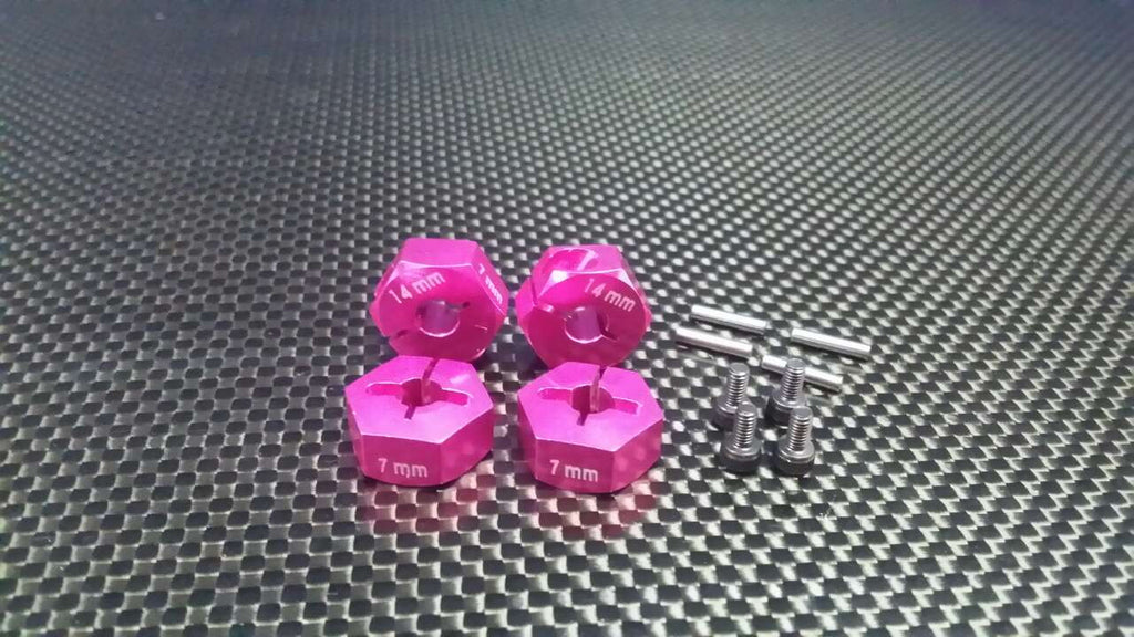 Axial EXO Aluminum Hex Adapter 14mmx7mm For Optional 14mm Hex Wheel Only - 4Pcs Set Pink