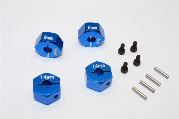 Axial EXO Aluminum Hex Adapter (14mmx9mm) For Optional 14mm Hex Wheel Only - 4Pcs Set Blue