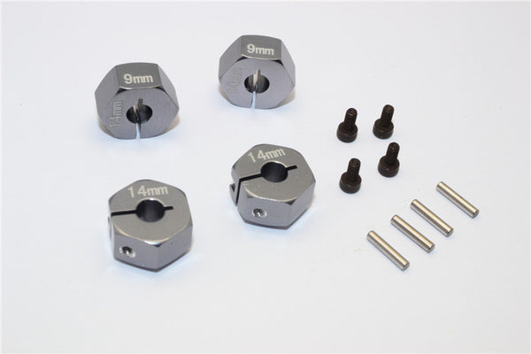 Axial EXO Aluminum Hex Adapter (14mmx9mm) For Optional 14mm Hex Wheel Only - 4Pcs Set Gray Silver