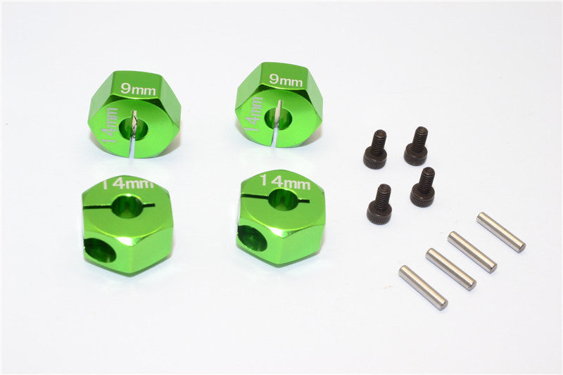 Axial EXO Aluminum Hex Adapter (14mmx9mm) For Optional 14mm Hex Wheel Only - 4Pcs Set Green