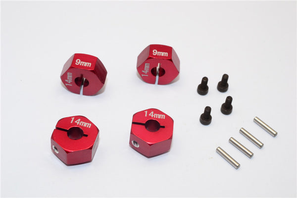 Axial EXO Aluminum Hex Adapter (14mmx9mm) For Optional 14mm Hex Wheel Only - 4Pcs Set Red