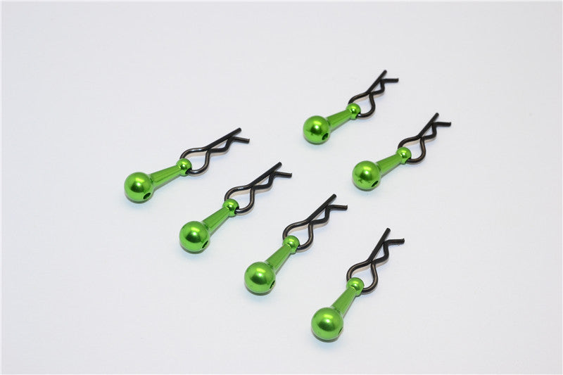 Body Clips + Aluminum Mount For 1/18 To 1/10 Models - 6Pcs Set Green