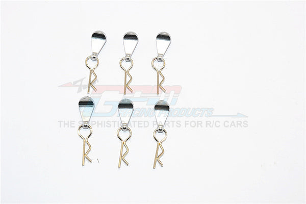 Body Clips + Aluminum Mount For 1/10 To 1/18 Models - 6Pcs Set Gray Silver