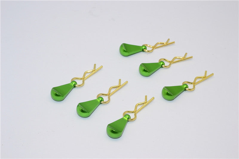 Body Clips + Aluminum Mount For 1/10 To 1/18 Models - 6Pcs Set Green