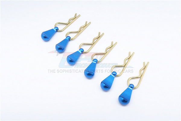 Body Clips + Aluminum Mount For 1/5 To 1/8 Models - 6Pcs Set Blue