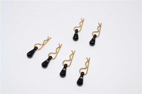 Body Clips + Aluminum Mount For 1/36 To 1/16 Models - 6Pcs Set Black